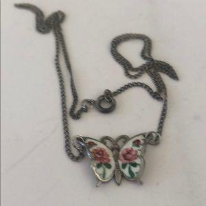 Vintage Beau Sterling Enamel Butterfly Necklace